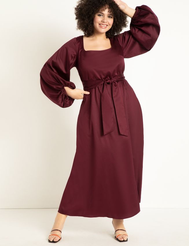 Square Neck Maxi With Full Sleeve