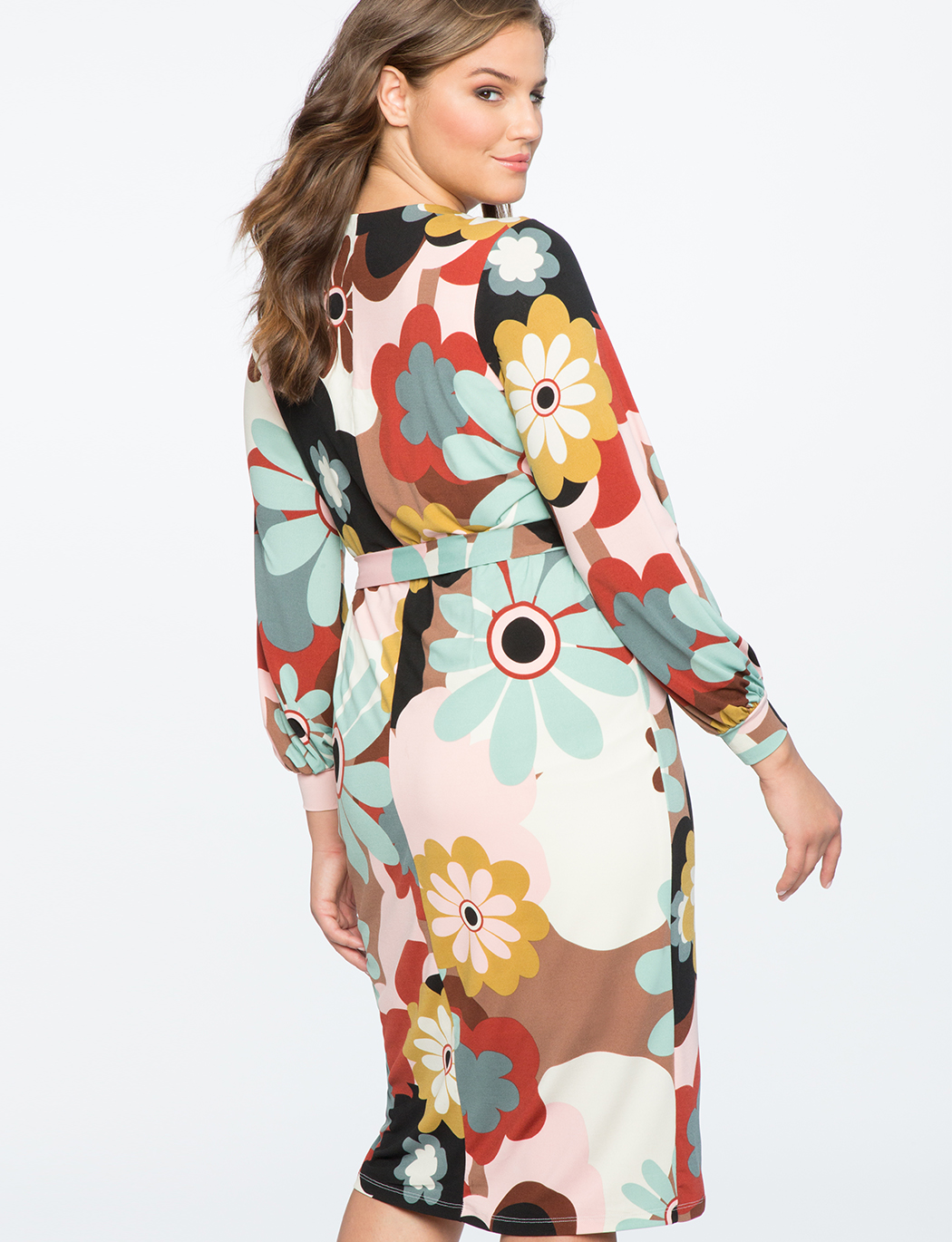 Printed Wrap Dress with Tie