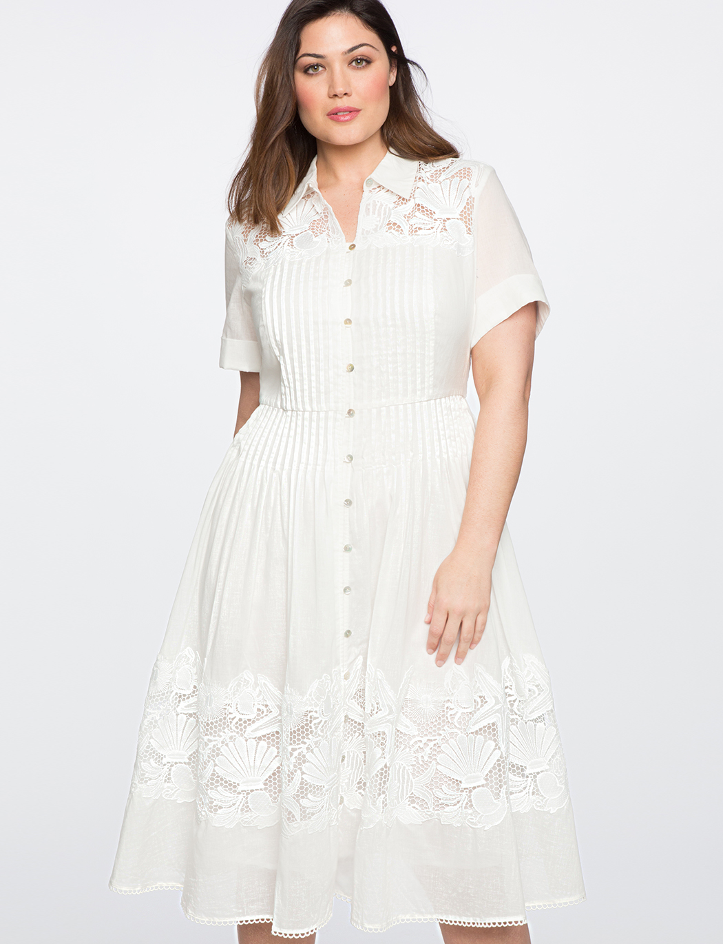 ae44453f4bc Teresa for ELOQUII Fit   Flare Shirtdress with Lace