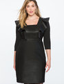 Ruffle Faux Leather Dress BLACK