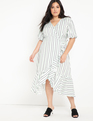 Printed Ruffle Wrap Dress Pastel Stripes