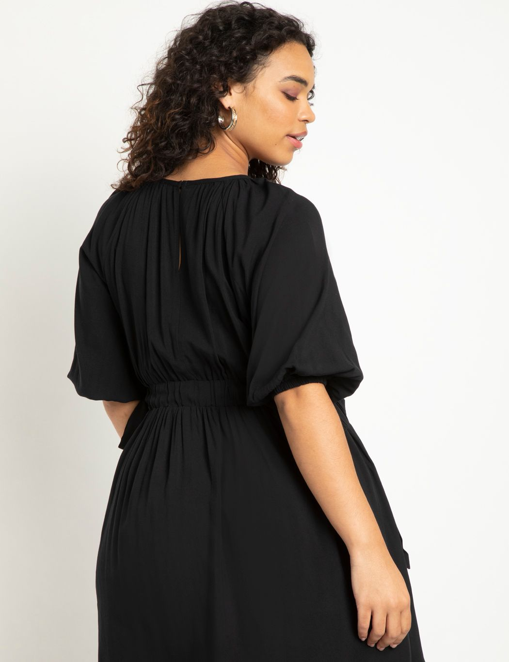 Puff Sleeve Cinched Waist Dress