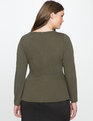 Cut Out Neckline Peplum Top Olive Leaf