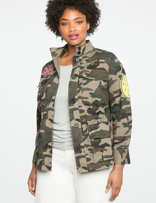 Camo Utility Jacket with  Patches