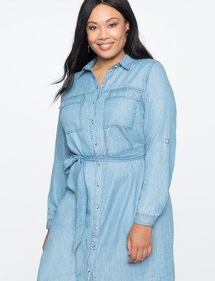 Chambray Shirtdress with Belt