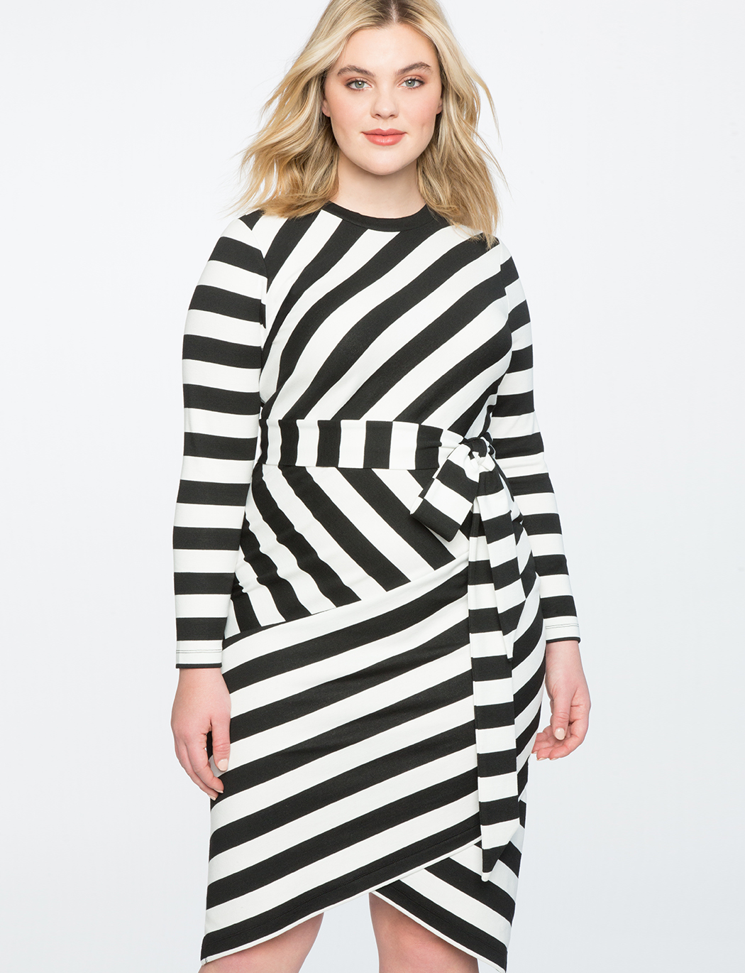 Blocked Stripe Dress | Women\'s Plus Size Dresses | ELOQUII