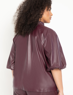 Faux Leather Bow Blouse with Puff Sleeve