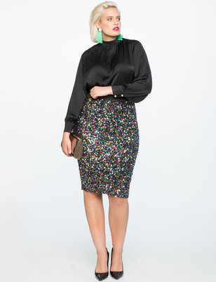 Multi-Color Sequin Pencil Skirt