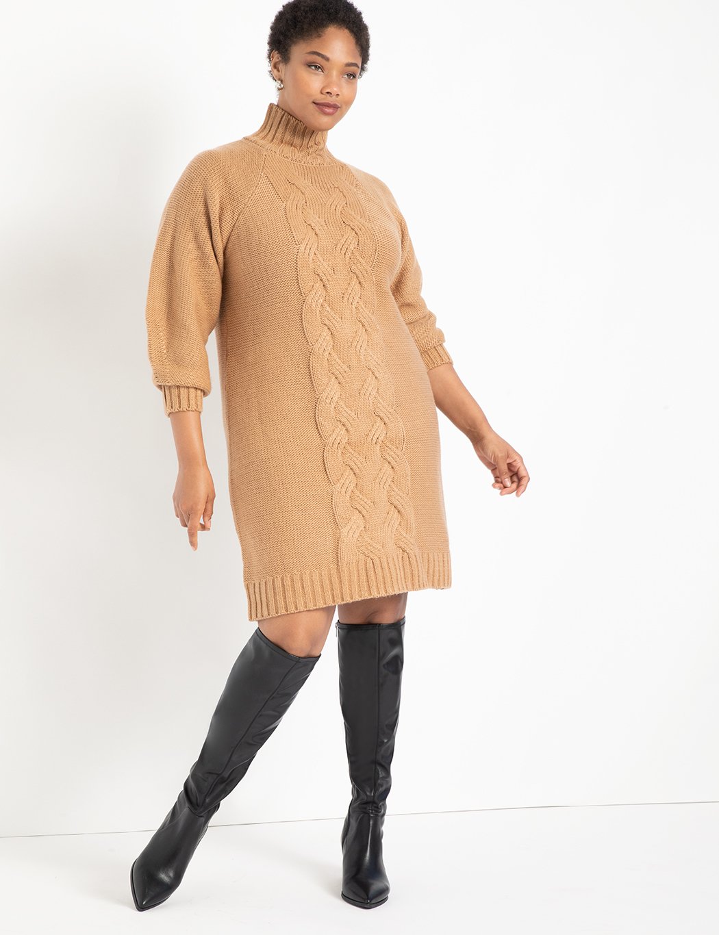 Turtleneck Cable Sweater Dress 7