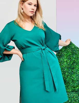 Puff Sleeve Midi Dress