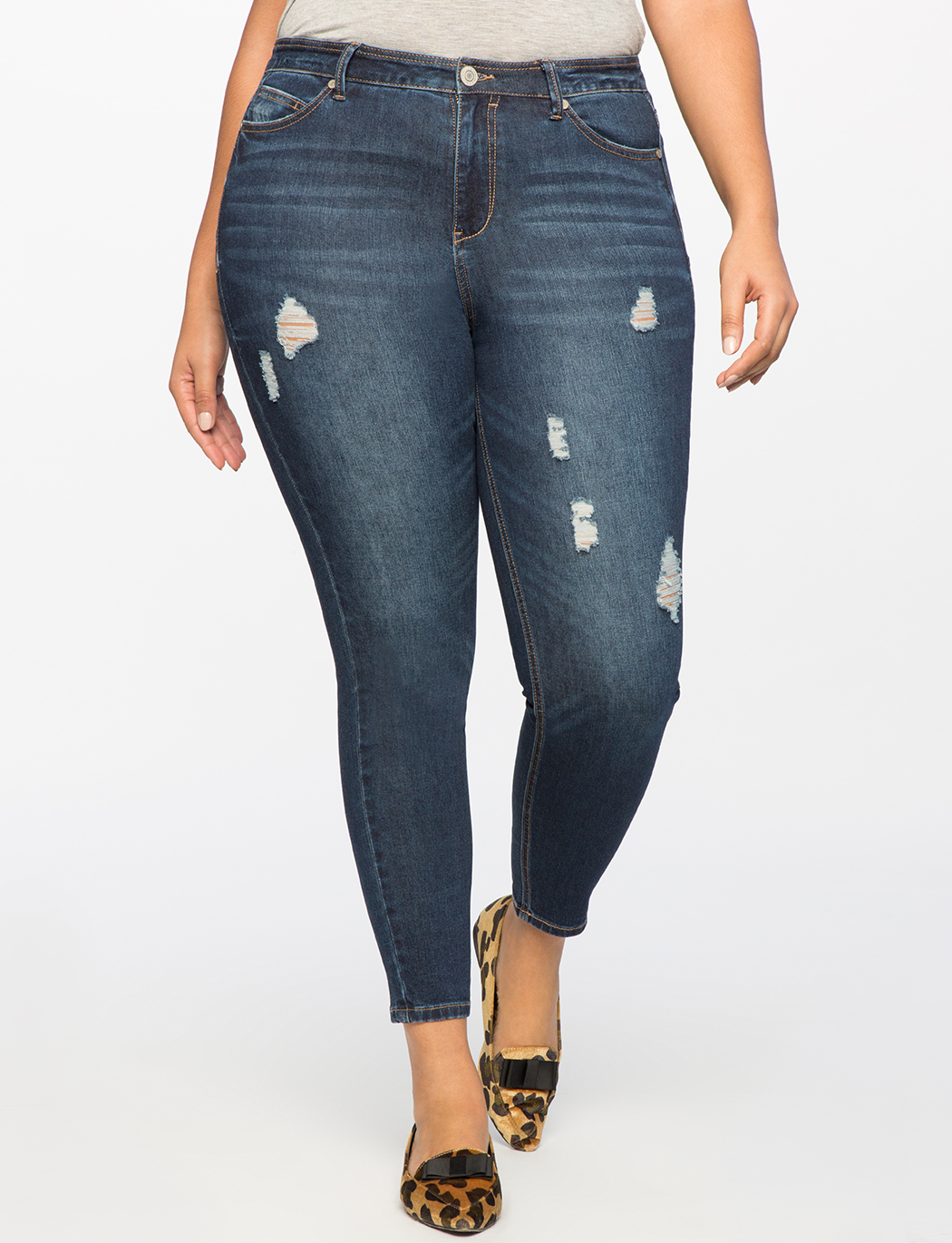 Peach Lift Distressed Skinny Jean