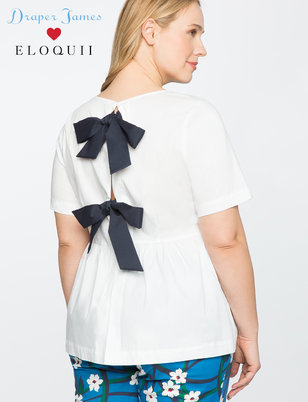 Draper James for ELOQUII Peplum Top with Bows
