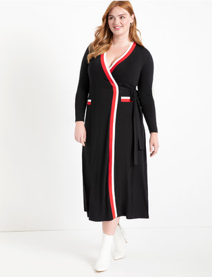 Maxi Wrap Dress with Contrast Tipping