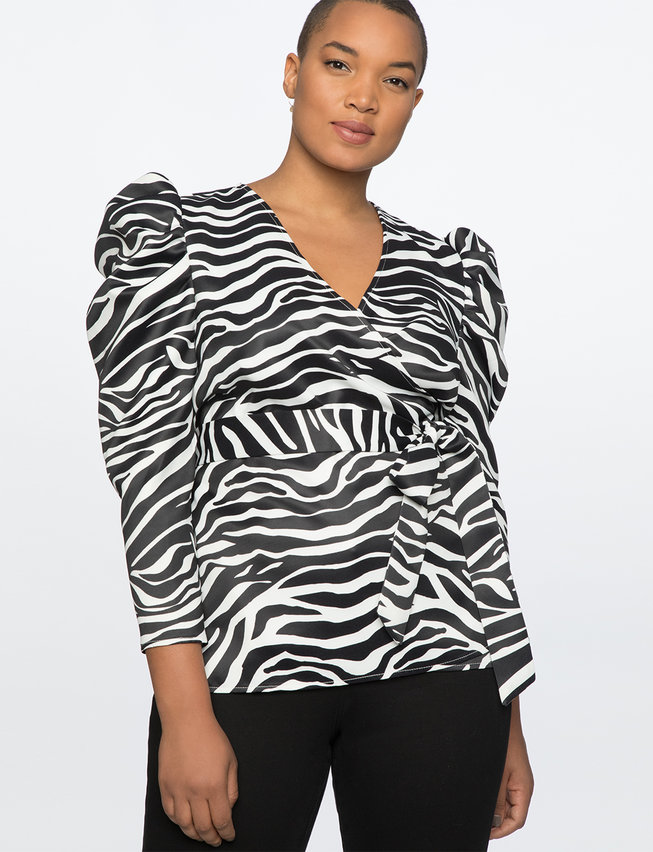 Puff Sleeve Wrap Top