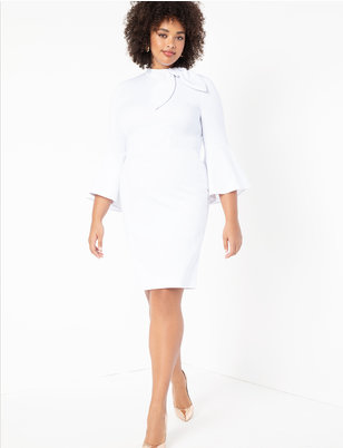 Flounce Sleeve Dress with Cascade Ruffle