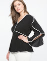 V-Neck Cascading Sleeve Top Black w/ White