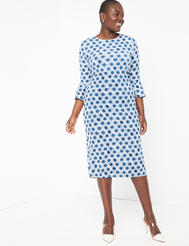 Midi Dress with Flounce Sleeve