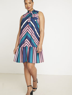 Tie Neck Flounce Dress