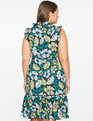 Printed Dress with Ruffle Trim Blossoms up Print
