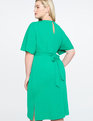 Tie Waist Midi Dress with Side Slits Parakeet Green
