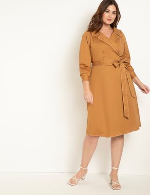 Wide Neck Trench Style Wrap Dress