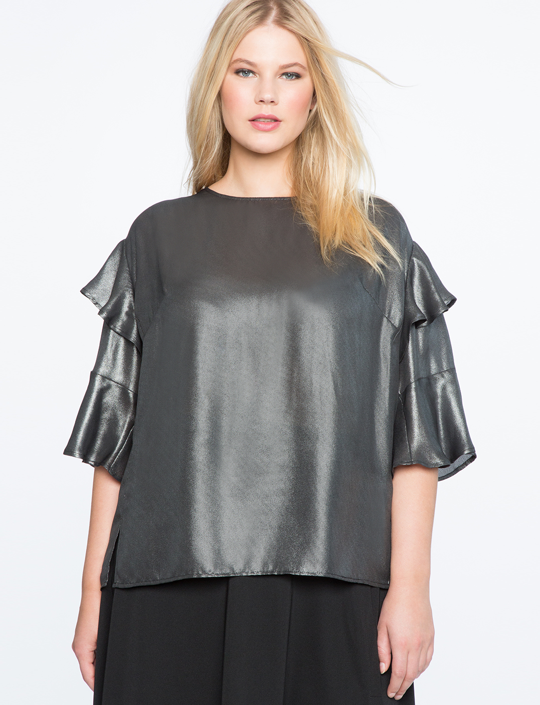 eae73df205d5f Tiered Ruffle Sleeve Blouse