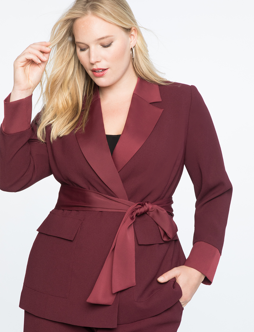 Satin Trimmed Robe Blazer