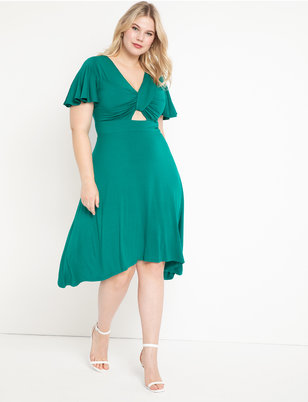 Cutout Detail Flutter Sleeve Dress