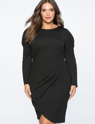 Crew Neck Dress with Draped Front