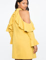 Cold Shoulder Halter Dress with Ruffle Details OIL YELLOW