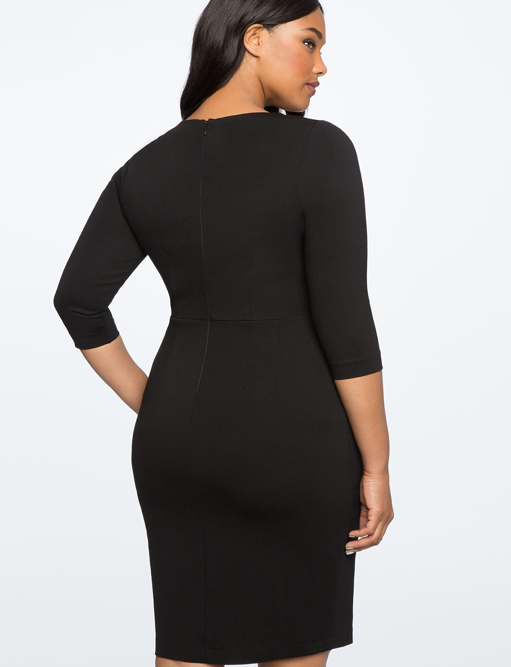 Side Button Ponte Sheath Dress