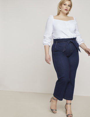 Crop Paper Bag Waist Trouser Jean