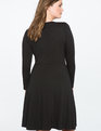 Pleated Fit and Flare Dress with Button Detail BLACK