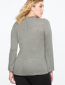 Floating Collar Wrap Top Grey Heather