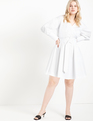 Belted Wrap Trench Dress True White