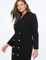 Pearl Button Blazer Dress Totally Black