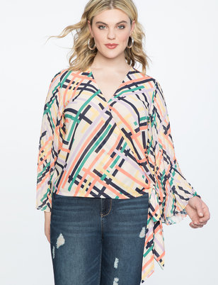 Pleated Sleeve Wrap Top
