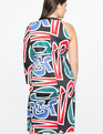 One Shoulder Dress with Side Slit Graphic Print