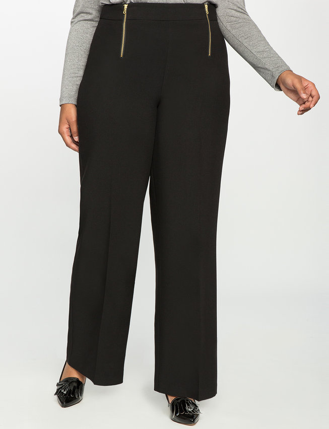 Zip Front Wide Leg Trouser