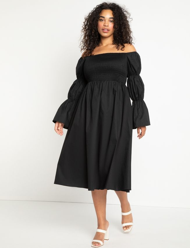 Off the Shoulder Dress with Puff Sleeves