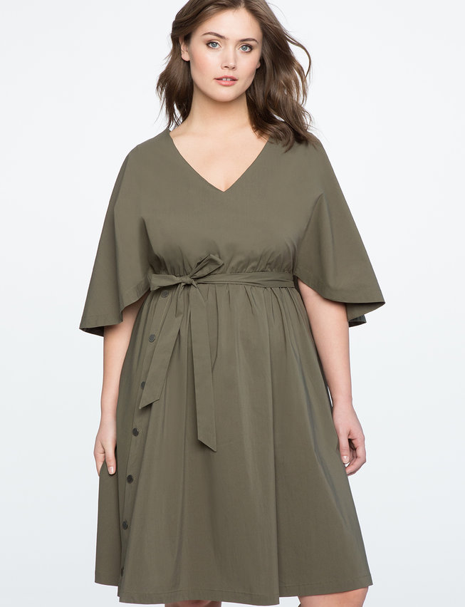 Button Detail Cape Dress