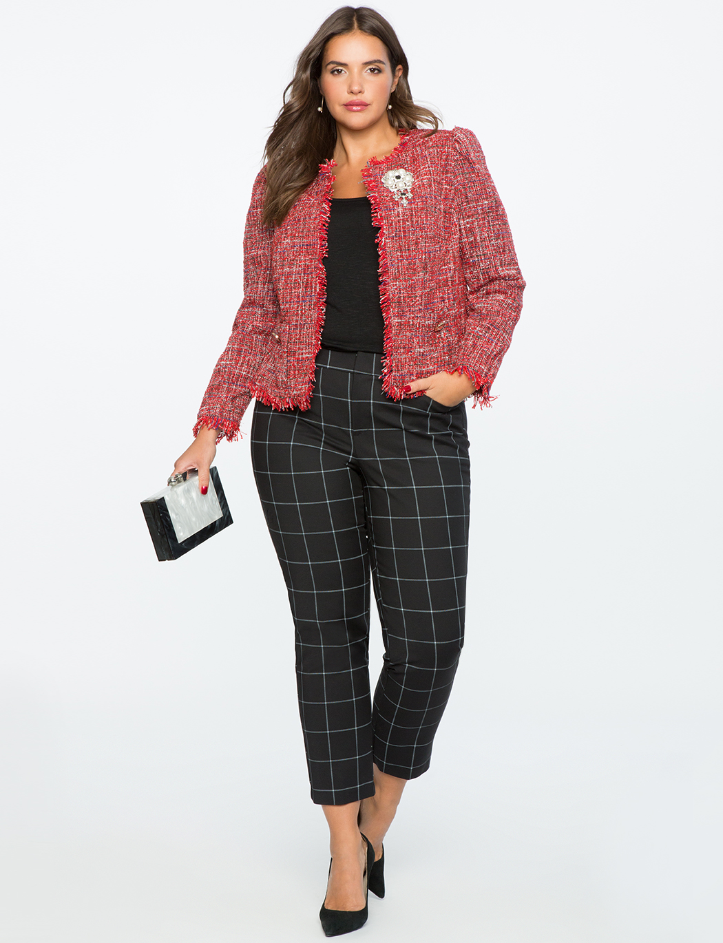 Tweed Collarless Crop Jacket