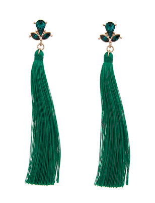Green Jeweled Stud Tassel Earrings