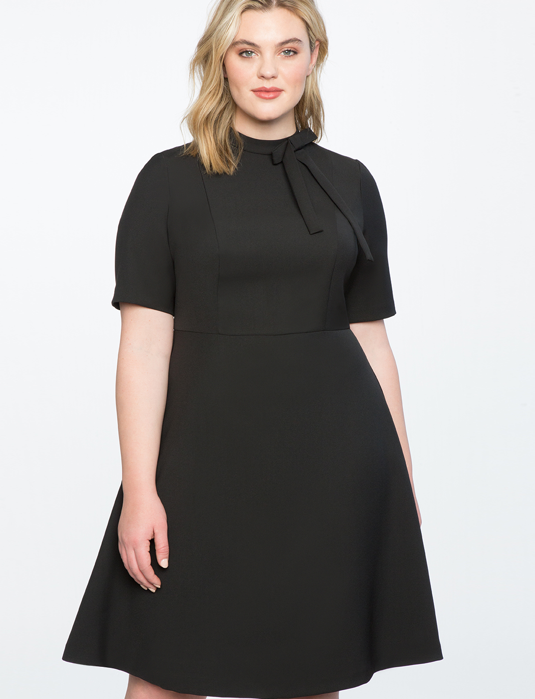 Fit And Flare Work Dress With Bow | Women\'s Plus Size Dresses | ELOQUII