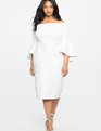 Lace Ruffle Sleeve Off the Shoulder Dress WHITE