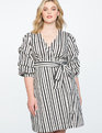 Printed Tucked Puff Sleeve Wrap Dress HELLO DOTTY SMALL STRIPE