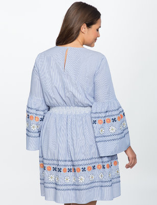 Smocked Waist Flare Sleeve Dress
