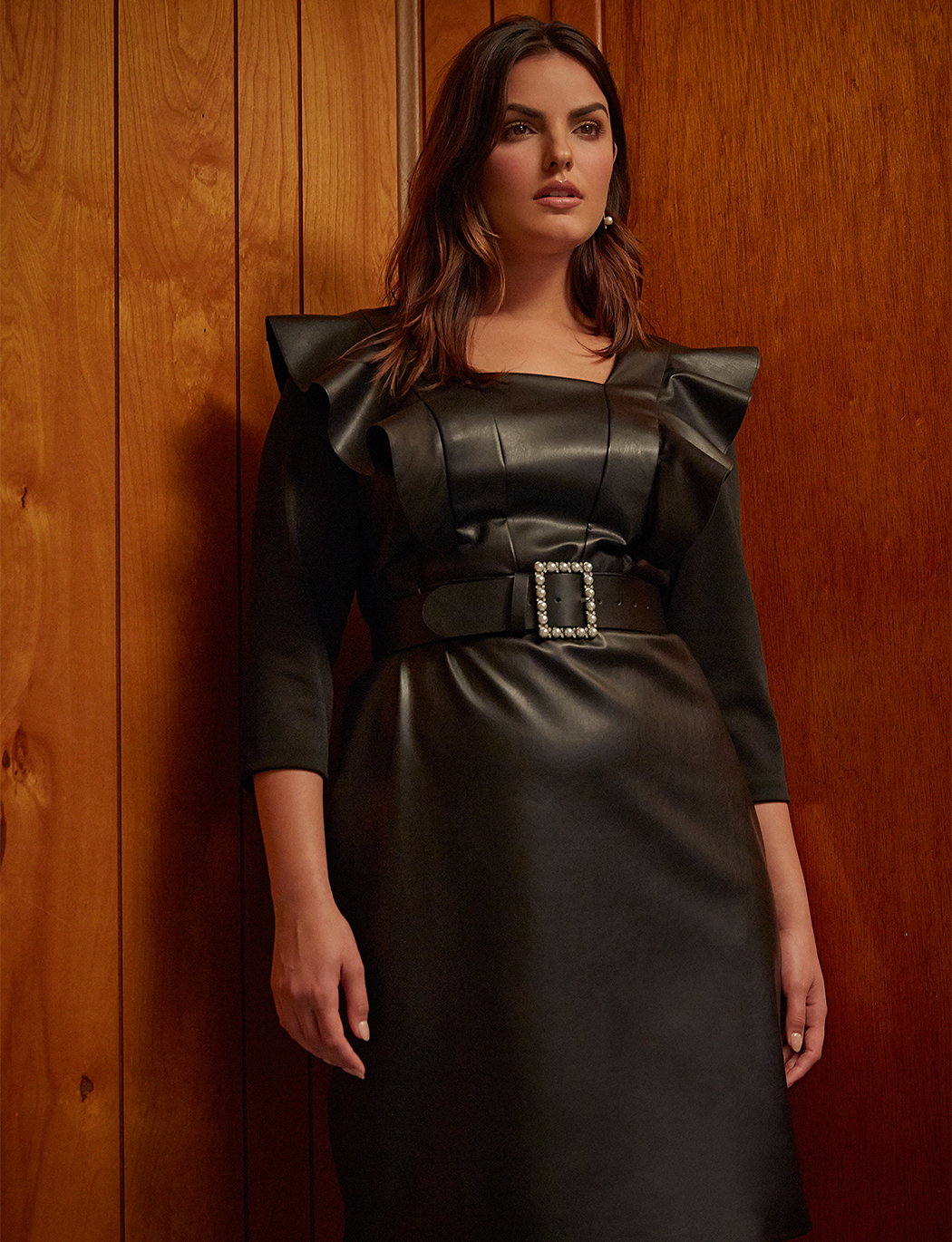 Ruffle Faux Leather Dress
