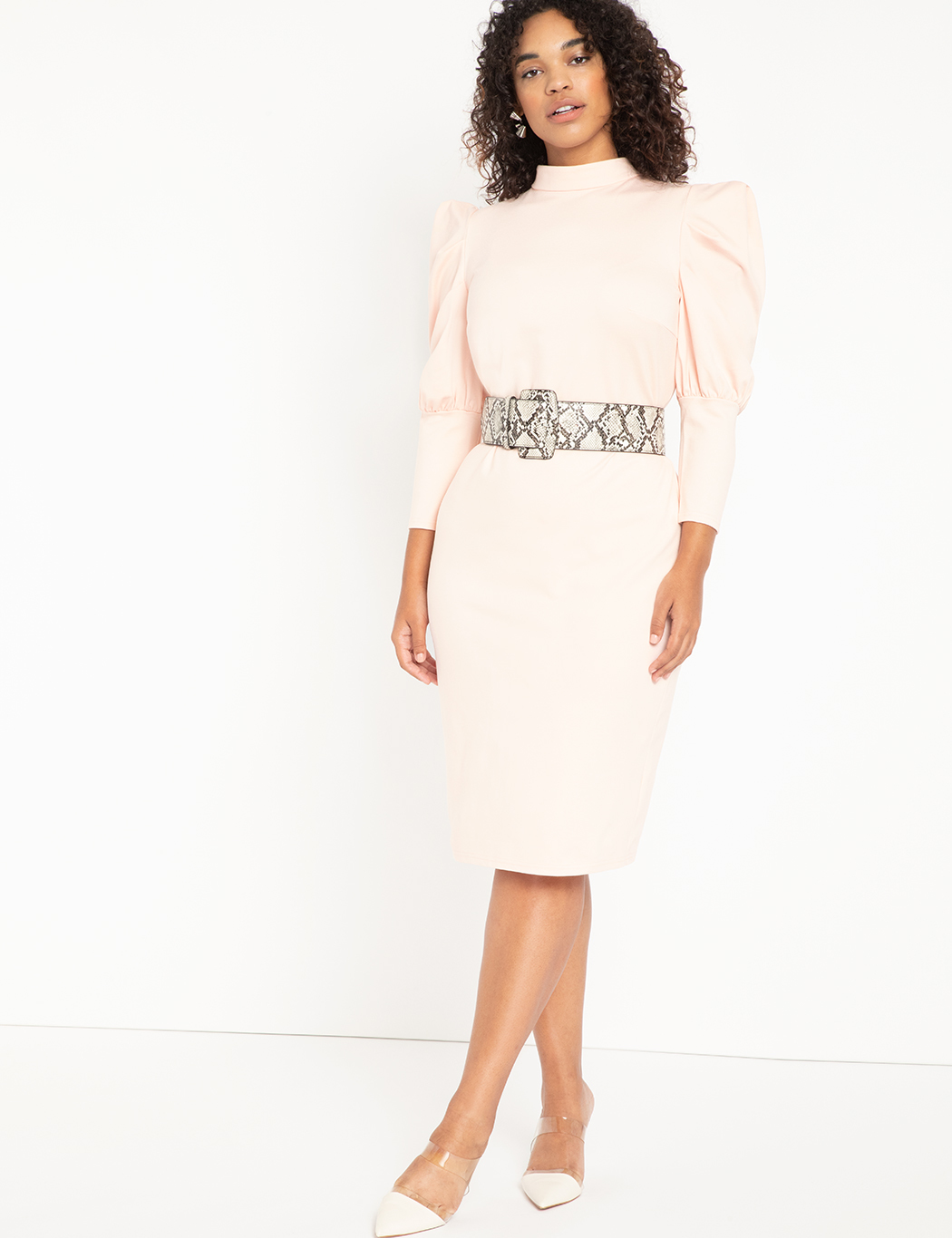 Turtleneck Bodycon With Puff Sleeves