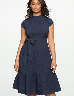 Mock Neck Tie Waist Dress